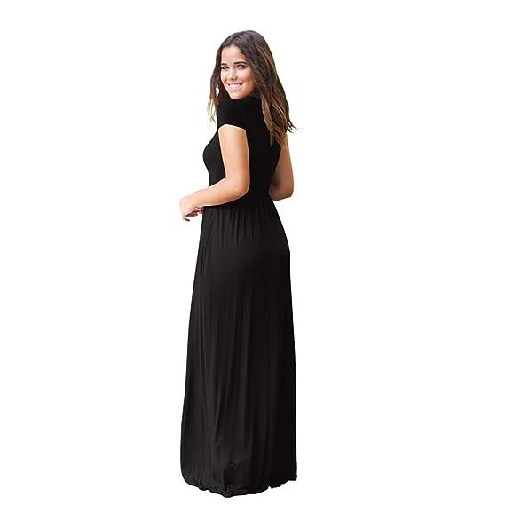 ZHANGNA Donna Maniche Corte Gonna Lunga Scollo Rotondo Casual Cocktail Maxi  Abito con Tasche  Amazon.it  Abbigliamento e111ddbf15c