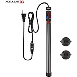 Xcellent Global Submersible Aquarium Fish Tank Heater Adjustable Temperature 300W Titanium with Visible Temperature LED Screen and External Temperature Controller PT042S