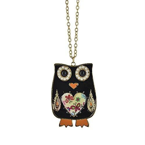 Twinkle Enamel Pendant Necklace - Opera Owl w/feet (Black) (Homemade Bird Costumes For Adults)