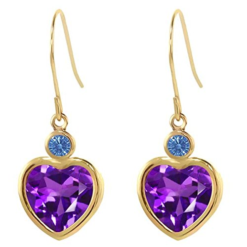 Carlo Bianca Purple 14K Yellow Gold Earrings Made With Swarovski Zirconia