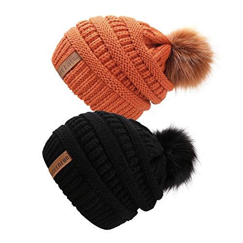 Knit Beanie Ski Hat (QUEENFUR Women Knit Slouchy Beanie Chunky Baggy Hat with Faux Fur Pompom Winter Soft Warm Ski Cap (2 Pcs Black/Orange))