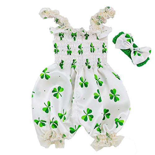 Qpika Toddler Baby Boys&Girls St. Patrick's Day Sleeveless Clover Sling Jumpsuit + Hair Strap Romper Clothes -