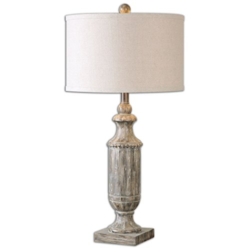 Old World Tuscan Dark Pecan Stained Table Lamp Farm Country House