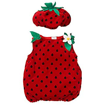 Koala Kids Strawberry Baby Girls 2 Piece Plush Halloween Costume (3-6 Months)