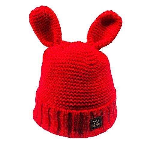 MaxFox Fashion Women Wool Winter Earflap Hats Knitted Hemming Fall Fleece Lined Keep Warm Headgear Caps (Red)