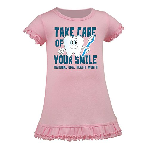 Inktastic - Take Care of Your Smile with Tooth Person Toddler Dress 3T Pink