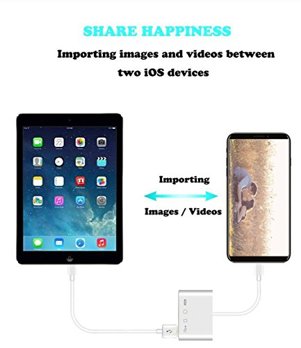 Lightning to SD FT Card Reader - 4 in 1 Lightning to USB Camera Adapter Kit SD TF Card Reader, iPhone to USB OTG Adapter Cable for iPhone iPad, Plug and Play by vlvoody (Image #5)