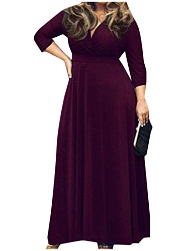 Colored size Classics Dress Length Coolred Plus Solid Women's Purple Full qfF4xxZXOw