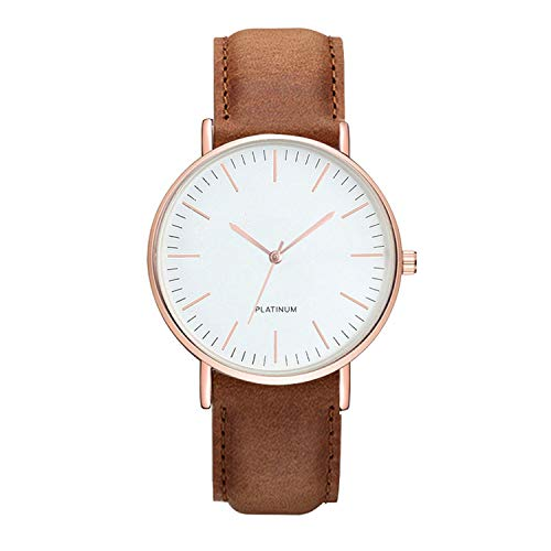- Fashion Unisex Men's Leather Wrist Watch Casual Clock Special Birthday Gift Women Watch,Gold Brown