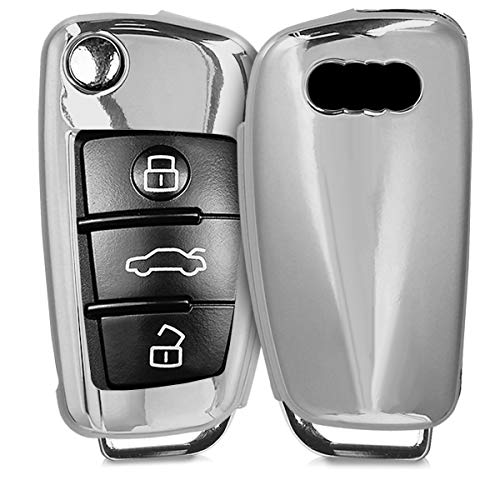 Sterling Silver Fob - kwmobile Car Key Cover for Audi - Soft TPU Silicone Protective Key Fob Cover for Audi 3 Button Flip Key - Silver High Gloss