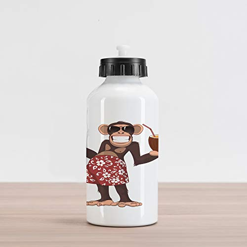 (Lunarable Cartoon Aluminum Water Bottle, Happy Chimpanzee Holding a Cocktail and Smiling Piggle Ape Cheerful Comic Art, Aluminum Insulated Spill-Proof Travel Sports Water Bottle, Brown and Ruby)