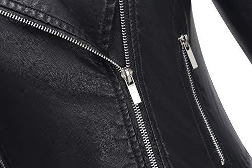 Tanming Women's Casual Slim Motorcycle PU Faux Leather Jacket Coat (Medium, Black)