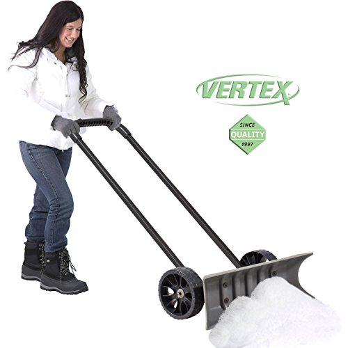 Power Dynamics Easy Leverage 30 Inch SnoDozer Rolling Snow Shovel on Wheels - Made in USA, Ergonomic Snow Clearing Push Plow for Driveways and Sidewalks by Vertex (Image #1)