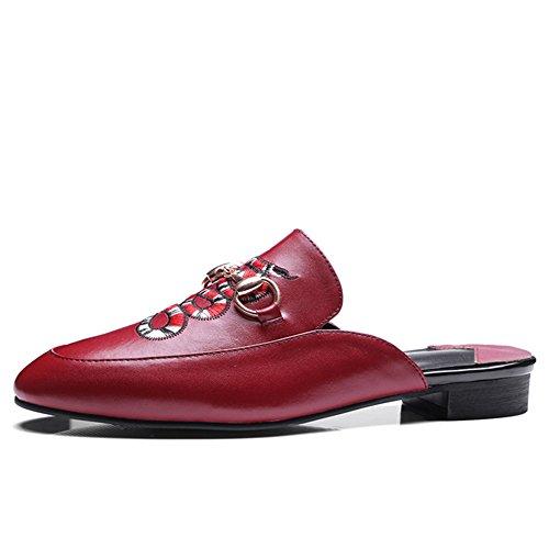 Nine Seven Genuine Leather Womens Round Toe Low Heel Embroidery Handmade Plain Slides Slippers New Burgundy EqmM0T