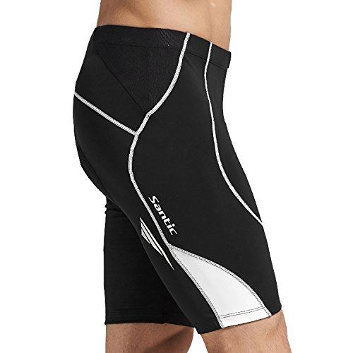 SANTIC Cycling Men's Shorts Biking Bicycle Bike Pants Half Pants 4D COOLMAX Padded White (Team Cycling Short)