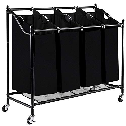 Four Section (Blissun 4 Section Rolling Laundry Hamper Sorter Cart, with Removable Bags and Brake Casters (Black))