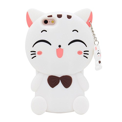 iPhone SE Case,iPhone 5C Case, iPhone 5 5S Case Cover, Cute 3D Cartoon Silicone Lucky Kitty Cat Character Animals Soft Rubber Back Protector Shell Skin For Apple iPhone 5/5C/5S/SE - White Bow Tie Cat