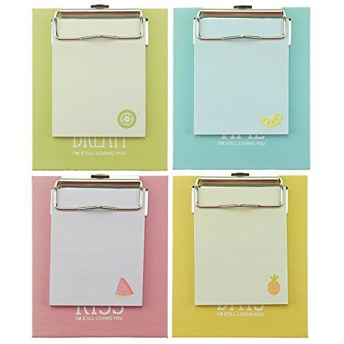 Display Office Clipboard (Bilipala Small Notepads Paper Sticky Notes Memo Pad with Paperboard Clipboard, 4 Pack)