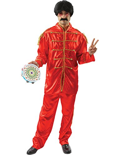 Dress Costumes Star (Mens Red Beatles Sergeant Peppers Lonely Hearts 60s Pop Star Fancy Dress Costume)
