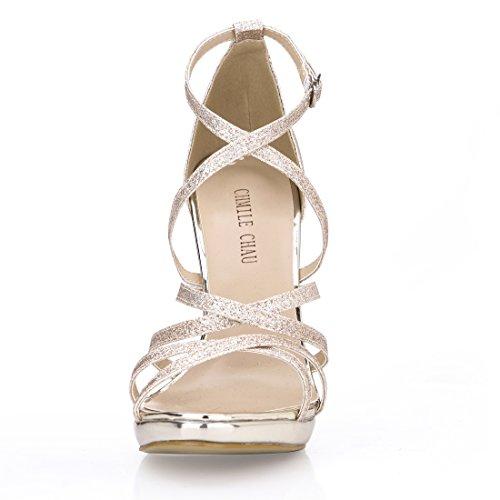 Fiesta para Mujer Correa de CHMILE Elegantes glitter Novia Zapatos Tacon de Gold Sandalias 1cm de Aguja Alto Vestido Tobillo Boda Chau de Nupcial Plataforma EqFaxFS