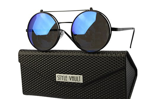 V3120-EC Style Vault Django Steampunk Flip Up Metal Round Sunglasses 3