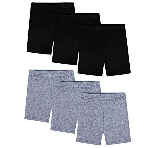 BOOPH Girls Dance Shorts Bike Short for Underdress 7-8 Year Black Gray 6 Pack