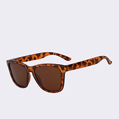 de de gafas hombres espejo gafas espejo polarizadas Los lentes plata Vintage de sol de lentes de TIANLIANG04 UV Leopard Gafas hombre sol clásico400 xfqnU04Awx