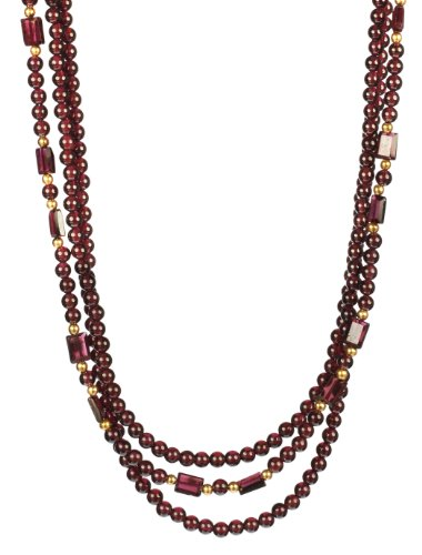 3 Row Round and Baguette Garnet Bead Gold Over Silver Necklace 18