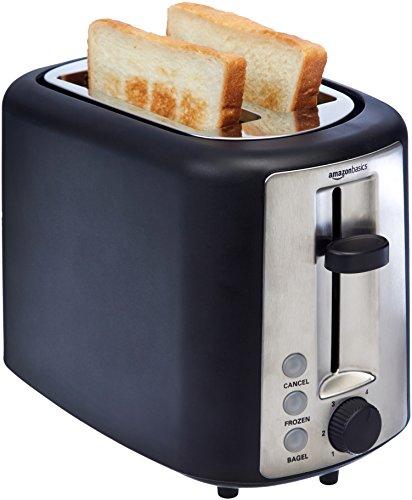 Amazon Basics 2 Slice, Extra-Wide Slot Toaster with 6 Shade Settings, Black Salted Salad