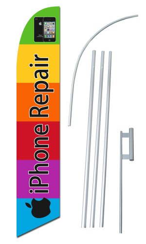 """""""iPhone Repair"""" 12-foot SUPER Swooper Feather Flag With Heavy-Duty 15-foot Pole and Ground Spike"""