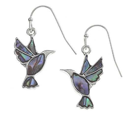 BellaMira Abalone Silver Plated Hummingbird Earrings Inlaid With Natural Paua Shell Exotic Jewellery Gift Boxed