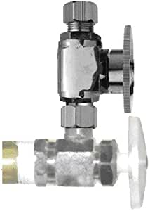 Keeney 2072PCLF 3/8-Inch O.D. Captured Nut by 3/8-Inch O.D. Lead Free Quarter Turn Straight Repair Valve, Chrome