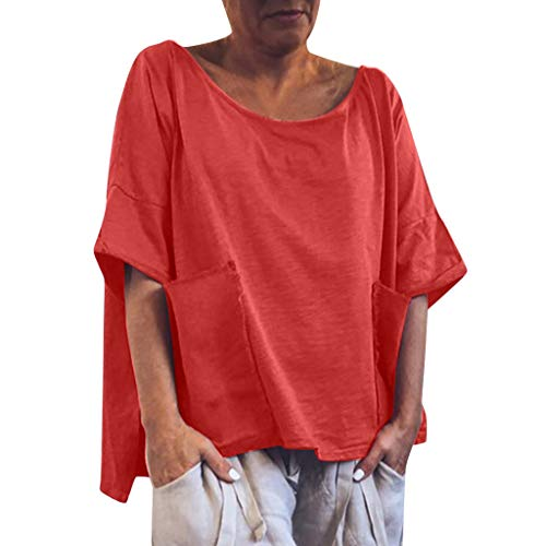 Shusuen Womens Short Sleeve Flare Swing Tunic Tops Plus Size Casual Loose Fit Shirts Blouses with Pockets Red