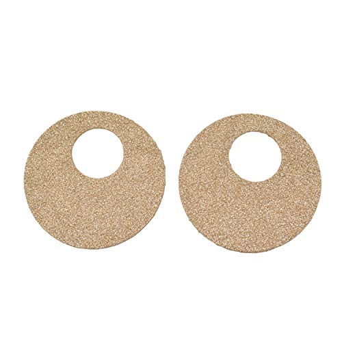The Leather Guy - 12pk-Leather Large Window Circle Die Cut Gold Glitter on Suede DIY ()