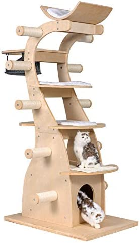 Good Life Deluxe Modern Design Cat Tree House With Scratching Post Tower Deluxe Solid Wood Furniture 63 Pet Supplies