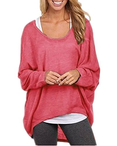TINYHI Women's Sexy Long Batwing Sleeve Loose Pullover Casual Top Blouse T-Shirt