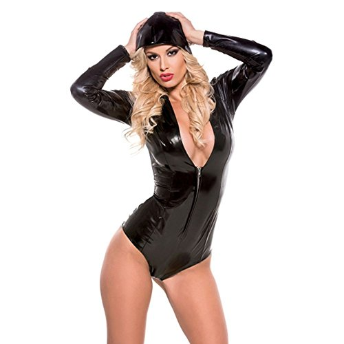 XGQP Sexy Women Catsuit Wet Look Leather Catwoman Teddy Bodysuit Club Costume