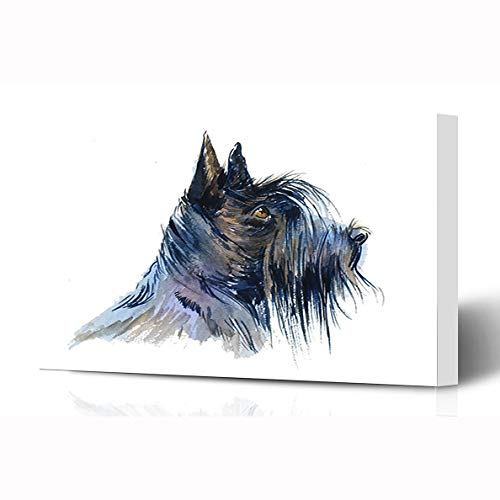 Ahawoso Canvas Prints Wall Art 16x12 Inches Darling Painting Black Scottish Terrier Dog Watercolor Pattern Wildlife Nature Adorable Breed Canine Wooden Frame Printing Home Living Room Office Bedroom