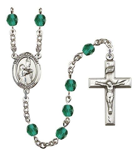 December Birth Month Prayer Bead Rosary with Saint Bernadette Centerpiece, 19 Inch
