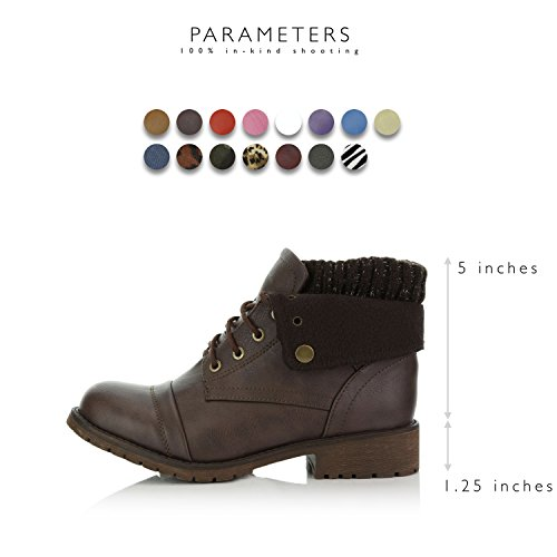 Sweater with Pu Combat Women's Ankle for Knife Pocket Top Wallet Style Bootie Credit Card Pocket Boots Up DailyShoes Brown Money HxwdInq8w