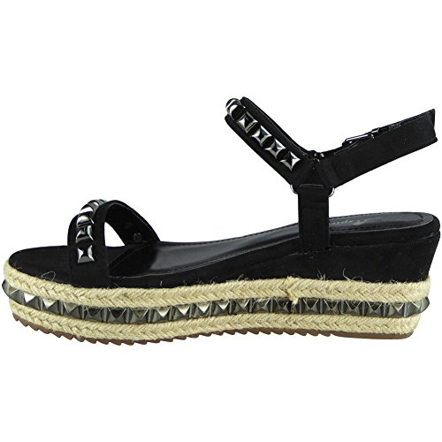 Loud Look Womens Ladies Platform Peeptoe Flatform Hessian Studs Shoes Wedge Sandals Sizes 3-8 Black 3NIXYl