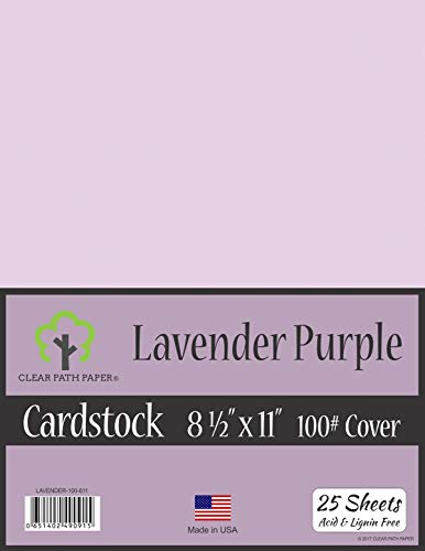 Lavender Purple Cardstock - 8.5 x 11 inch - 100Lb Cover - 25 Sheets