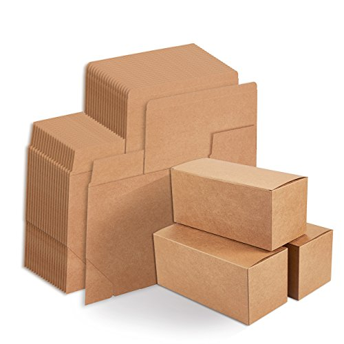 Chocolate Brown Gift Boxes - Kraft Gift Boxes - 20-Pack Rectangle Gift Wrapping Brown Paper Boxes with Lids, Kraft Boxes for Party Supplies, Cupcake Containers, Wedding Favors, 9 x 4 x 4 inches