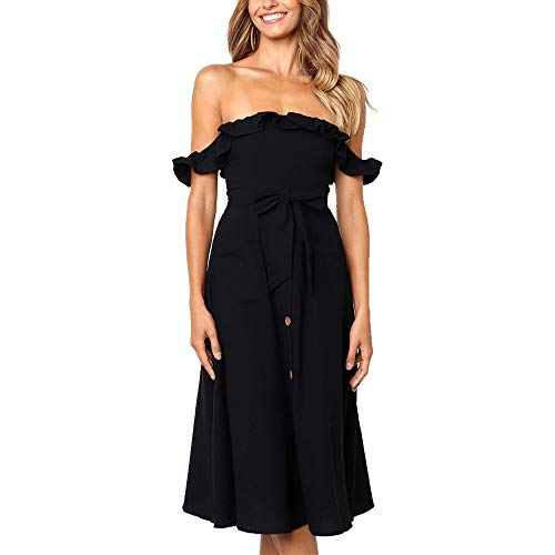 Exlura Women's Ruffle Off Shoulder Tie Waist Midi Sundress Button Down Maxi Dress with Pocket Black