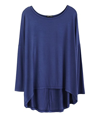 Blusa Suelta De Talla Grande Camisa De Manga Larga De Murciélago Yoga Camiseta Mujeres Negro Denim Azul