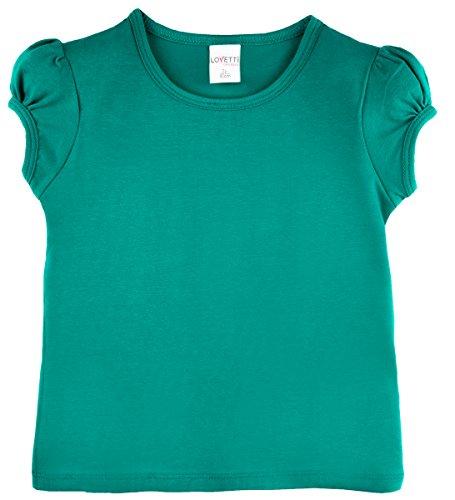 Lovetti Girls' Basic Short Puff Sleeve Round Neck T-Shirt 3T Green