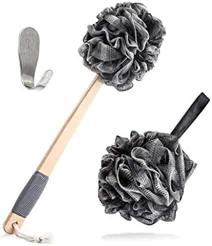 Loofah Shower Pouf Bath Sponge Back Scrubber Set by Toem | Includes 1 Long Handled Lufah, 1 Bath & Shower Luffa Pouf & 1 Self Adhesive Hook To Hang Stuff | Set Made With Bamboo Charcoal Fiber