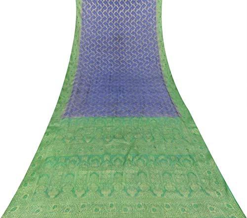 Vintageandyou Weaving Vintage Pure Silk Indian Craft Used Woven Sari Fabric 5 Yard