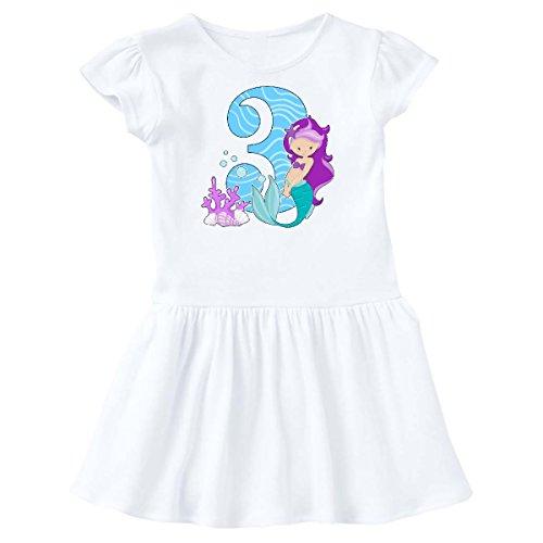 inktastic - Third Birthday Mermaid Toddler Dress 4T White 29185
