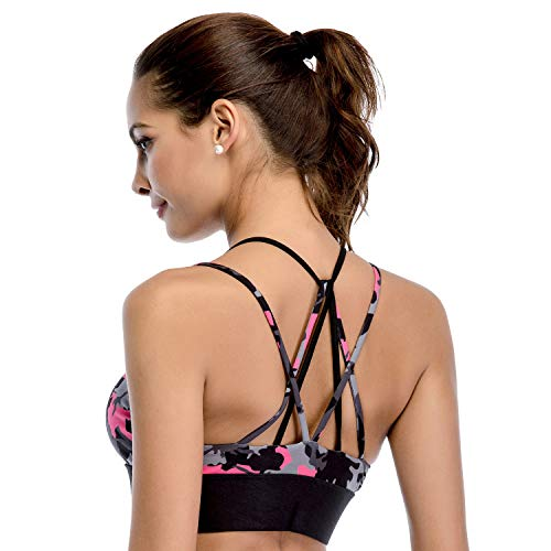 Chisportate Women's Strappy Sports Bra Removable Padded Bra Comfort Yoga Bra Tops Activewear for Workout Running Fitness Camouflage (Back Open Design)